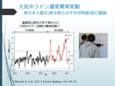 東日本大震災(東北地方太平洋沖地震)前に観測された大気中ラドン濃度の異常変動